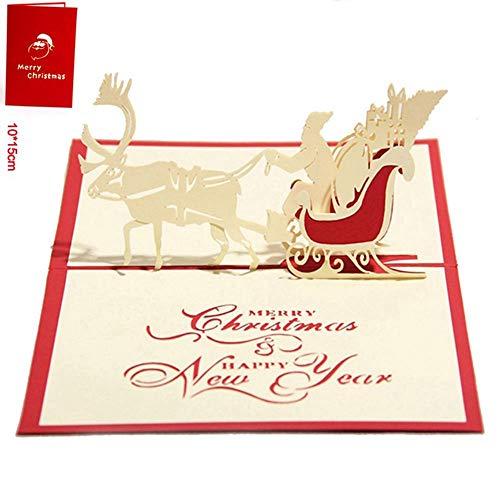 Yaoaomon Frohe Weihnachten Karte Hirsch Auto Pop Up Karte Laser geschnitten für Geburtstag Grußkarte rot (Valentines Day-karte-autos)