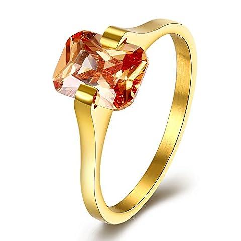 Amour Infini Femmes Bague de Fiançailles Alliance Mariage Anneau Anniversaire 316L Acier Inoxydable Zirconium Cubique Diamant Anneau Idée Cadeau, JST187-A-7-UK