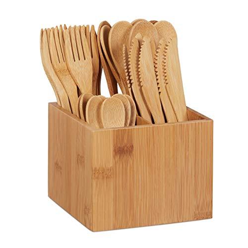 Relaxdays 10024596 Bambus Besteck Set, je 10 x Messer, Gabel, Löffel & Teelöffel, Besteckhalter, wiederverwendbar, 41-TLG, Natur - Holz Ess-set