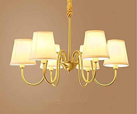 XIAOJIA Lustre en bronze américain, lumière de salle de séjour, européen simple salle à manger de chambre de tissu lustre, lampe de pendentif de décoration moderne ,