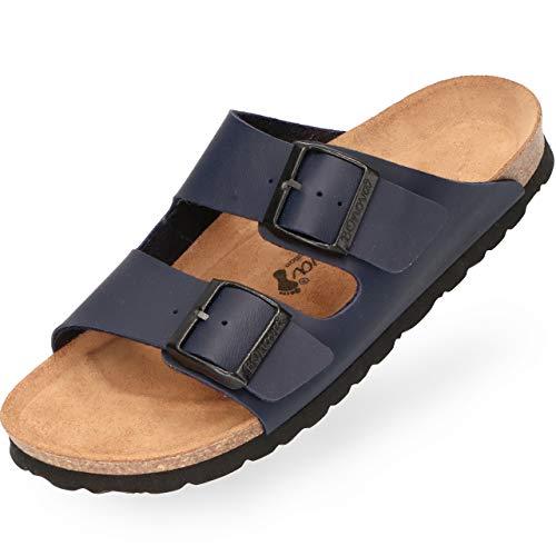 BOnova Herren Pantolette Schwanberg in 4 Farben, Bequeme Hausschuhe mit Kork-Fußbett und Riemen aus Leder - Sandalen hergestellt in der EU blau 44