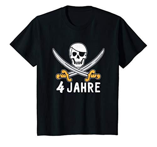 Kinder Geburtstagsshirt 4 Jahre Junge Pirat Totenkopf Kostüm - Kostüm Für Vier