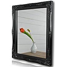 Espejo de pared madera negro marco de madera para baño Landhaus Cottage 37 x 47 cm Landhaus