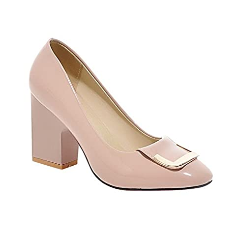 Carolbar Women's Fashion Concise Metal Ornament High Heel Court Shoes (6.5, Nude Pink)