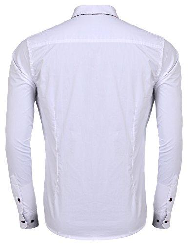 Coofandy Herren Bügelleicht Hemden Modern Langarmhemd Business Hochzeit Freizeit Slim Fit kentkragen Hemd White
