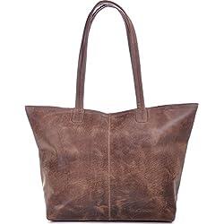PHIL+SOPHIE - Bolso de tela de cuero para mujer marrón marrón