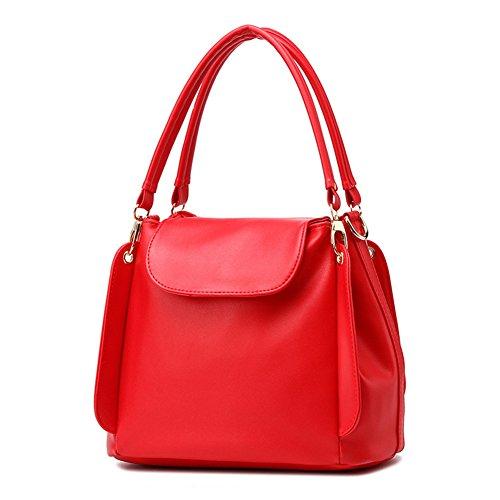 fanhappygo klassische zufällige PU Leder Handtasche Mode Umhängetasche Tasche Rot