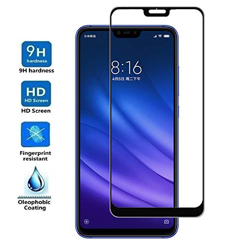 Electrónica Rey - Protector de Pantalla Curvo para XIAOMI MI 8 Lite - MI8 Lite, Negro, Cristal Vidrio Templado Premium, 3D / 4D / 5D