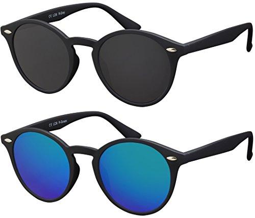 Original La Optica Verspiegelte UV400 Runde Unisex Retro Sonnenbrille - Farben, Einzel-/Doppelpacks (Doppelpack Rubber Schwarz (Gläser: 1 x Grau, 1 x Grün verspiegelt))