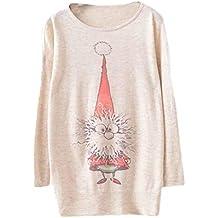 Reasoncool Donna di Natale Batwing maniche lunghe di colore allentato magliata Maglieria Top