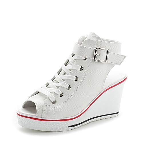 Frauen Leinwand Hohe Einstellbare Schnalle Peep Toe Creepers Wedges Schuhe Sandalen White Peep Toe Wedge