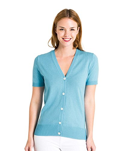 WoolOvers Cardigan à manches courtes - Femme - Soie & Coton Turquoise
