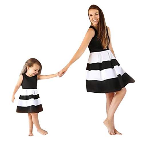 MCYs Mutter und Tochter Mommy & Me Kinder Baby Mädchen Gestreift Prinzessin Kleid Casual Familie Kleidung Beiläufig Ärmellos Minikleid Vintage (S, Mutter Schwarz) (Einzigartige Für Mädchen Kleidung)