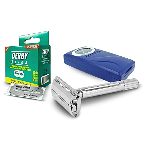Shaving Factory Rasier Set - 100 Derby Extra Mini Zweischneidige Rasierklingen und Rasierer