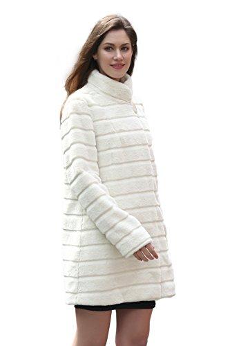 Elegante cappotto Adelaqueen per donna finta pelliccia, beige, mezza lunghezza con collo rigido (Taglia: XL)
