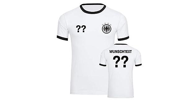 Fußball EM WM Fan Shirt Deutschland T-Shirt Trikot weiß Wunschdruck S-5XL