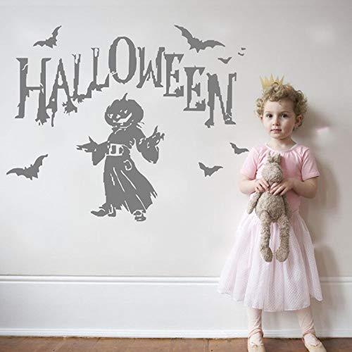 daufkleber Halloween Party Wandaufkleber Kürbis Fliegen Fledermäuse Mit Mann Silhouette Wandtattoos Home Schlafzimmer Kunst Dekor 46 * 58 cm ()