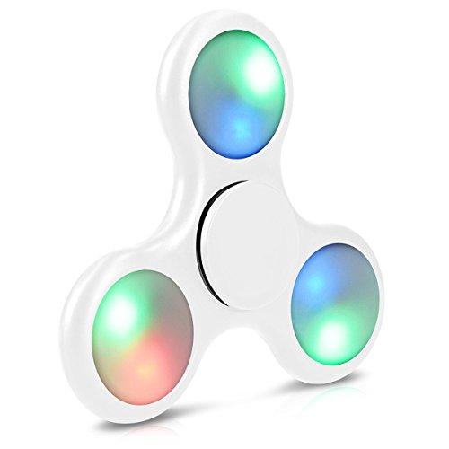 Preisvergleich Produktbild Navaris Fidget Spinner mit LED - Rundes Design Stresslöser für Nervosität Stress ADHS Angstzustände Langeweile Konzentration - Weiß