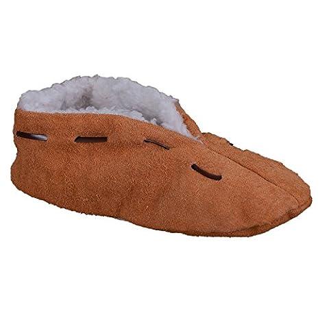 Lammfell-Hausschuhe | Damen & Herren | gefüttert & rutschfest | Leder-Puschen | Extra warmes Futter aus Lammfell-Imitat | Antirutsch | Winter-Pantoffeln | extra warm &
