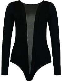 (womens long sleeved wet/leather look mesh strip bodysuit leotard(le) Frauen langärmelige Nass / Lederoptik Netzstreifen Strampler trikotanzug (36/38 (uk 8/10), (black) schwarz)