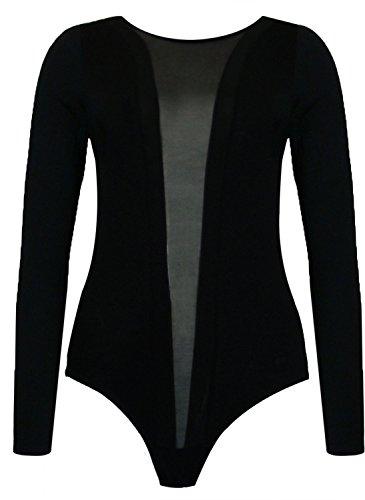 wet/leather look mesh strip bodysuit leotard(le) Frauen langärmelige Nass / Lederoptik Netzstreifen Strampler trikotanzug (36/38 (uk 8/10), (black) schwarz) ()