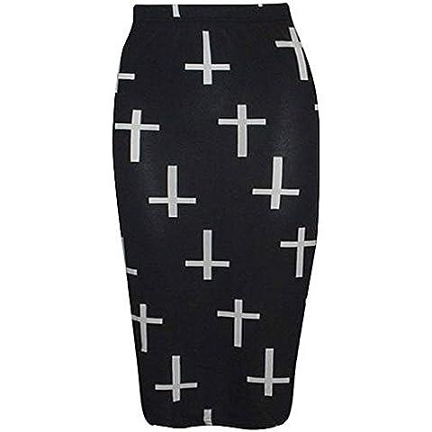 Para mujer Army para mujer Bodycon de colores de tamaño completo de calavera y corona de tartán Midi en la falda para portaminas tubo