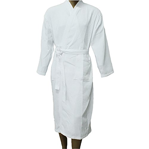 - 41qM9SmGp4L - Men Women Waffle Bathrobe Cotton Unisex Towelling Gown Large Standard Size Guest Hote