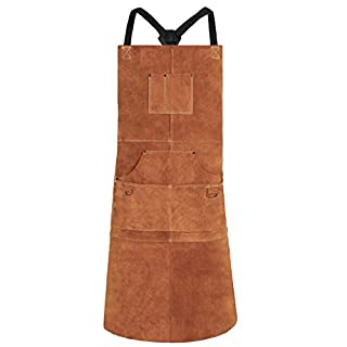 Leather Welding Apron by LeaSeek - Heavy Duty Tools Shop Apron with 6 Pockets, 24inch X 42inch Extra Long, Brown(Size: M to XXL)