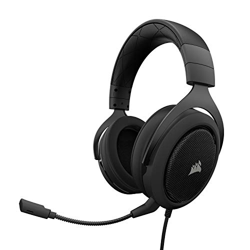 Corsair HS50 Stereo Cuffie da Gaming con Microfono Staccabile per PC/PS4/Xbox/Switch/Mobile, Carbonio