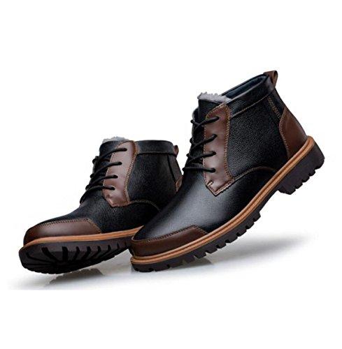 Autunno E Inverno Pelle Uomini Scarpe Casual Alto Per Aiutare Più Velluto Scarpe Calde Scarpe Da Uomo Brown