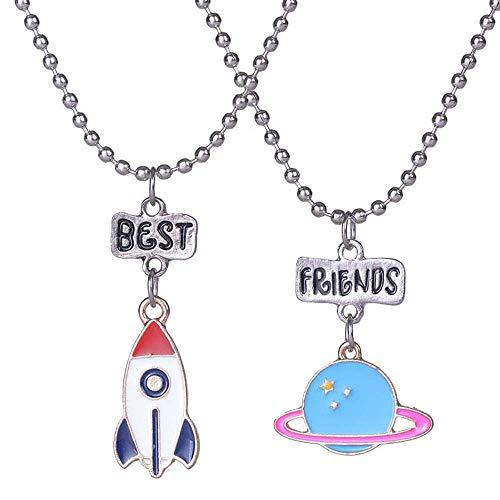 MJARTORIA Damen Mädchen Jungen Halskette Silber Farbe Essen Regenbogen Eule Schmuck Anhänger mit Gravur Freundschaftsketten 2 Stück (Rakete und Planet)