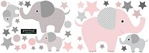ticker Wandaufkleber Elefant Elefanten Sterne Dots Wandtattoo Kinderzimmer Babyzimmer Kinder Baby Mädchen Junge Tapetensticker ohne Chlor und Weichmacher (Elefanten rosa - rot) ()