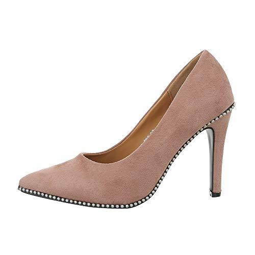Ital-Design Damenschuhe Pumps High Heel Pumps Synthetik Altrosa Gr. 37