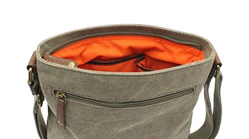 CACTUS tela e Distressed Leather Messenger Bag oliato CL810_81 Viola Cachi