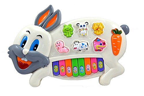 Zaid Collections Rabbit Musical Piano with wonderful flash light and baby, animal, fruit buttons battery operated (Multi color)