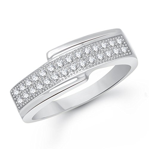 Meenaz Fancy Ring For Girls & Women Silver Plated In American Diamond Cz FR00340(14)  available at amazon for Rs.144