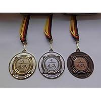 mit Medaillen-Band - Gold,Silber,Bronce Bronze Alu Emblem 25mm Gold aus Metall 50mm Fanshop L/ünen Medaillen Set Judo Silber Kampfsport e219