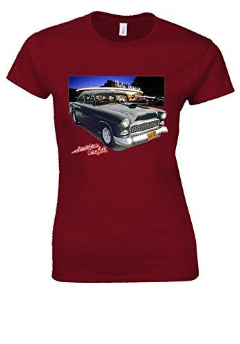 Bob Falfa's 55 Chevy American Graffiti Hot Rod Novelty Cherry Red Women T Shirt Top-XXL (Hot Red Cherry)