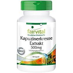 Kapuzinerkresse-Extrakt 500mg - für 1 Monat - VEGAN - HOCHDOSIERT - 90 Kapseln - 4-fach konzentriert
