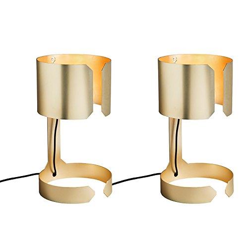 Messing Schlafzimmer-sets (QAZQA Design / Modern / 2-flammiger Set Schreibtischleuchte / Tischleuchte / Büroleuchte / Tischlampe / Lampe / Leuchte Waltz Gold / Messing / Innenbeleuchtung / Wohnzimmer / Schlafzimmer Metall Rund)