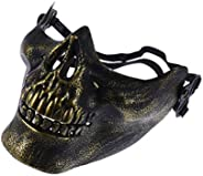 Amosfun Halloween Skull Skeleton Mask Shaped Face Protector for Cosplay Masquerade Party 2Pcs (Golden and Silv