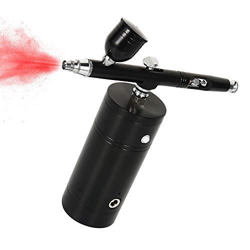 Kit Mini Pistolet à Peinture Aérographe Modelisme avec Copresseur d'Air USB Rechargeable à Double Action pour Peinture Tatouage Vernis à Ongle Pâtisserie 0.3mm Noir (kit d'aérographe noir)