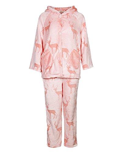 Pigiama di Natale Pajamas Renna di Natale Pantaloni T-Shirt per Donna Pink