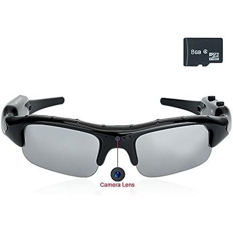 WISEUP 8GB 1280x720 HD Telecamera Spia Occhiali Videocamera Mini DVR di Sicurezza con Funzione Audio - Azione Occhiali Sportivi