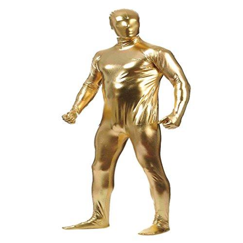 Baoblaze Herren Damen Ganzkörperanzug Einteiliger Anzug Second Skin Bodysuit Zentai Suit Kostüm Ganzkörperkostüm - Gold, l