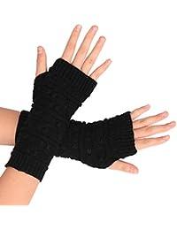 Flammi Damen Strick Armstulpen mit Daumenloch Warm Fingerlose Handschuhe F/äustlinge