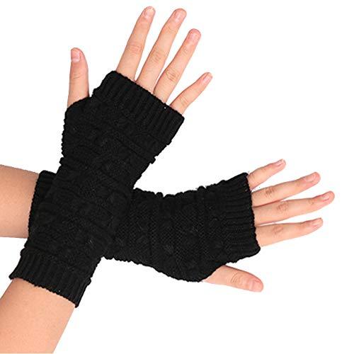 Lang Fingerlose Handschuhe Winter Halb Handschuhe Strick Handschuhe Ärmel Gestrickte Fingerlose Armstulpen,Schwarz ()
