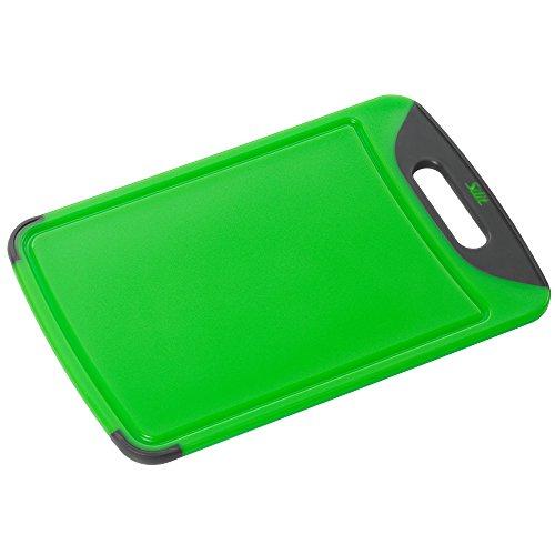 Silit Schneidebrett Tranchierbrett grün 38 x 25 cm rechteckig aus hochwertigem Kunsstoff Saftrillen mit praktischem Griff spülmaschinengeeignet leichte Reinigung hygienisch klingenschonend geschmacksneutral