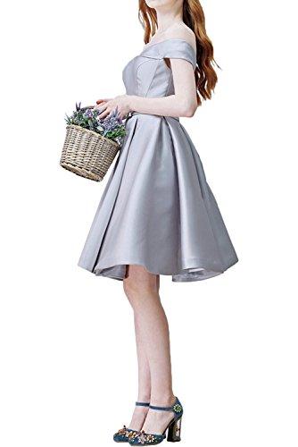 Milano Bride Damen Sweetheart traegerlos kurze Aermel Abendkleider Ballkleider Cocktailkleider Satin Ruecken mit Schnuerung Mini Blau