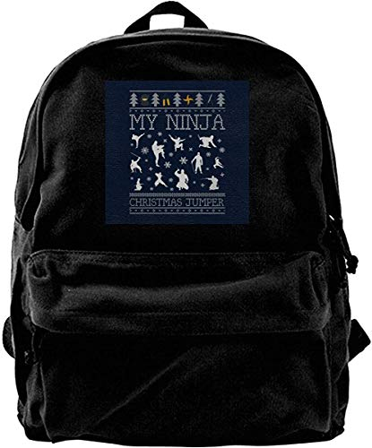 Homebe Zaino Canvas Backpack My Ninja Christmas Knit Rucksack Gym Hiking Laptop Shoulder Bag Daypack for Men Women